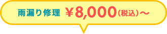 雨漏り修理 \8,000(税抜)~